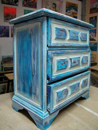 blue patina on chest of drawers