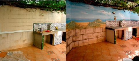 before and after, trompe l'oeuil in backyard, Thuire, France