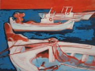 boats at Sifnos harbour, acrylic on canvas, 75x55cm, 2006