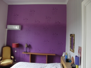painted patern, faux wall paper in bedroom, Thuire, France