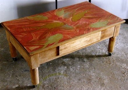 decoration of old coffee table. acrilyc on canas