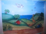 child's room countryside mural