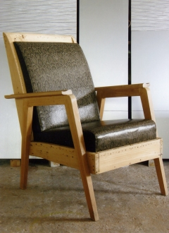 50's nude armchair in snake leatherette