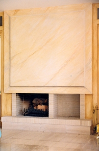 trompe l'oeuil, faux marbre on fireplace