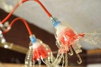 chandelier in recycled plastic bottles