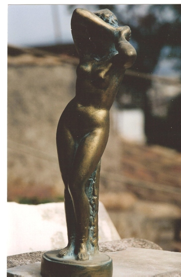faux bronze patina on plaster statue