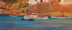 warm boats, acrylic on canvas, 70x35, 2006