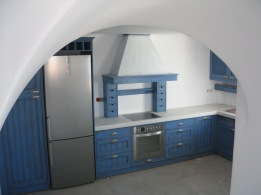 blue patina on kitchen furniture