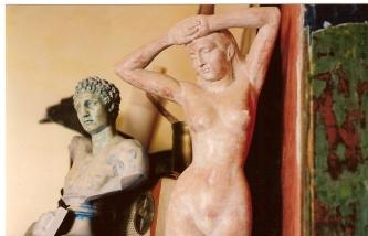patina on plaster statue