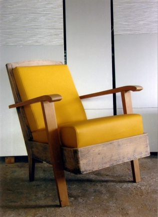 50's nude armchair in yellow leatherette