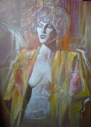 the singer, acrylic on canvas, 120x60, 2004