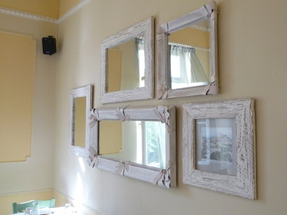 patina on wood and cardboard frames