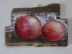 pomegranates, acrylic on wood, 2012