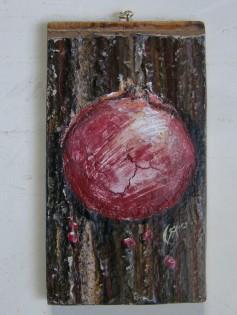 pomegranate, acrylic on wood, 2012