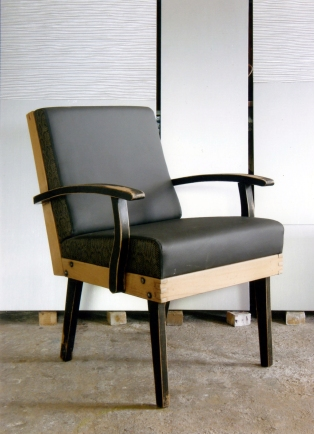 50's nude armchair in anthracit leatherette and faux snake detail